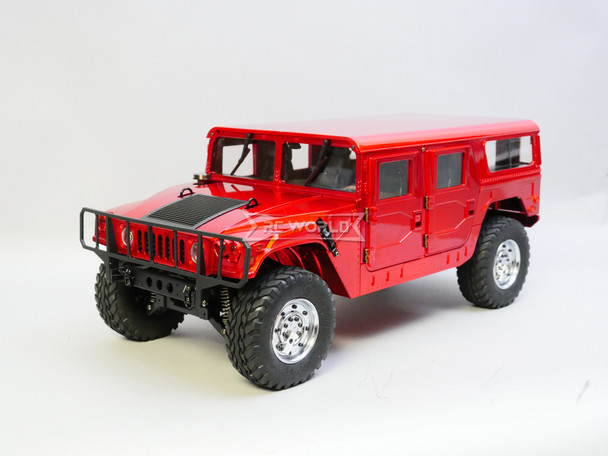 RC 1/10 HUMMER H1 4X4 Truck Full Option 2-Speed + Sounds + LED *RTR* RED