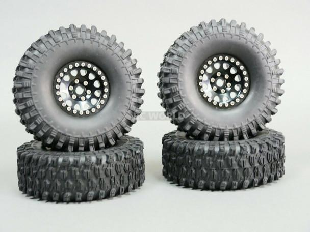 1/10 Metal TRUCK WHEELS 1.9 Beadlock Rims V2 Black Rim + Black Rings (4pcs)