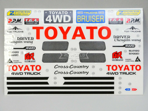 """RC 1/10 Car Truck TOYOTA 4X4 Truck DECALS STICKERS 6""""x4"""" Sheet RED"""