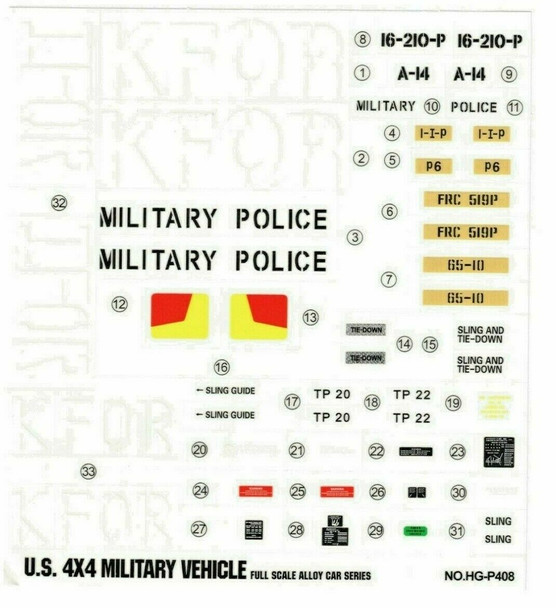 """RC 1/10 Car Truck KFOR MILITARY POLICE Decals Stickers 7""""x8"""" Sheet"""