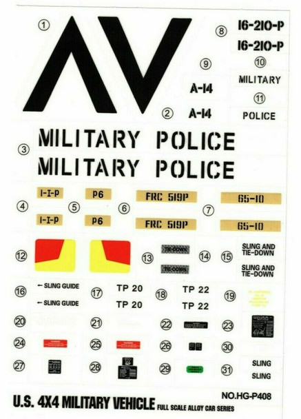"""RC 1/10 Car Truck MILITARY POLICE Decals Stickers 5""""x8"""" Sheet"""