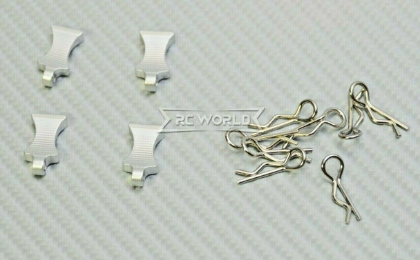 RC 1/10 METAL BODY POST CLIPS W/ Aluminum Tails (4 pcs) SILVER