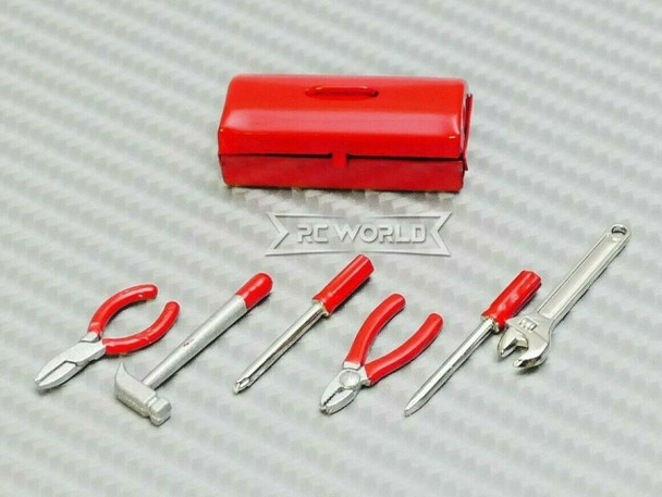 1/10 Scale Accessories Metal TOOL BOX w/ TOOLS -RED-