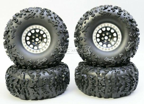 1/10 Truck Wheels 2.2  Aluminum RIMS V2 Beadlock  W/ 140mm TIRES Black/Silver