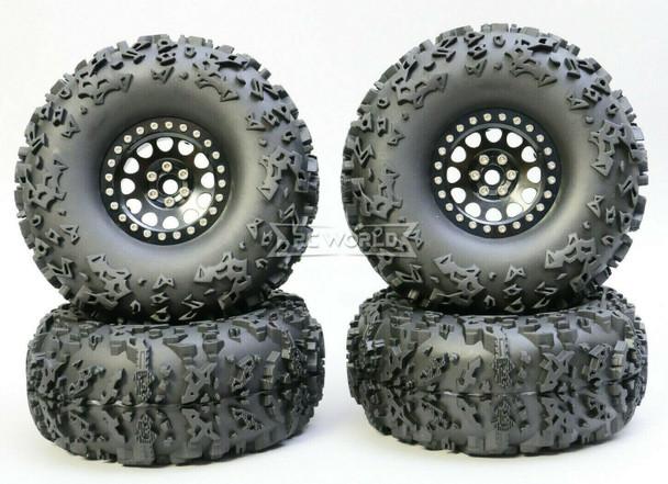 1/10 Truck Wheels 2.2  Aluminum RIMS V2 Beadlock  W/ 140mm TIRES Black/Black