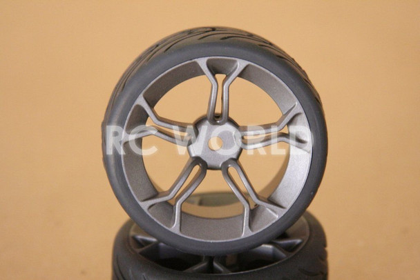 RC 1/10 CAR TIRES WHEELS RIMS SEMI- SLICKS KYOSHO TAMIYA HPI MATTE GUN METAL #2