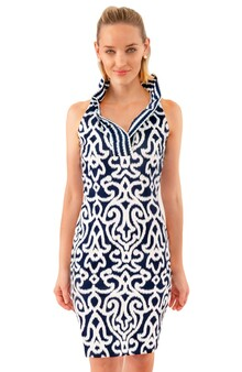 Jersey Ruffleneck Sleeveless Dress -Navy  Arabesque