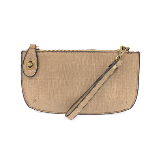 Crossbody Wristlet Clutch - Faux Linen