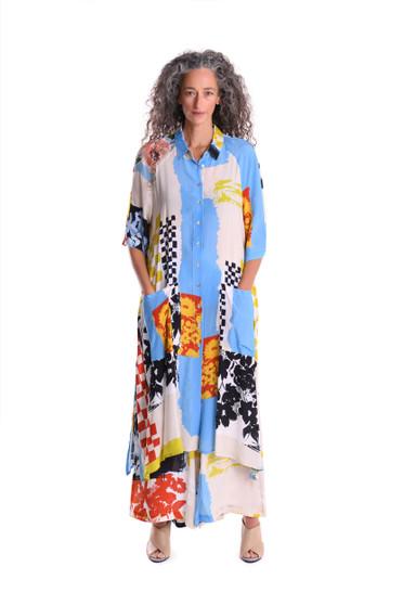 Art Print Colored Maxi Dress