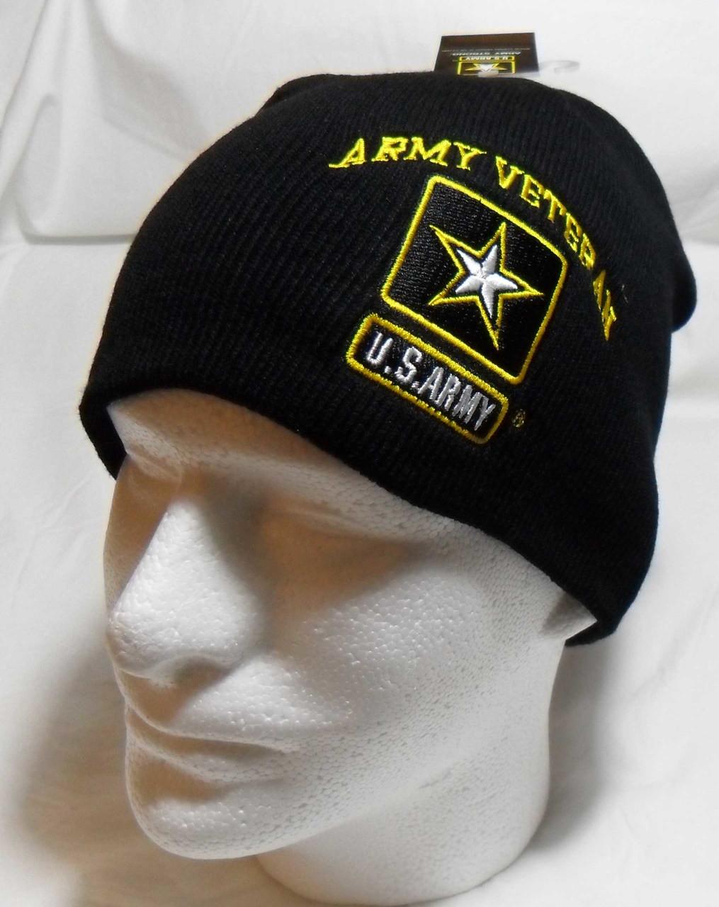 US ARMY VETERAN Watch Cap Beanie Winter Ski Hat Toboggan Officially Licensed dfafd27d0af