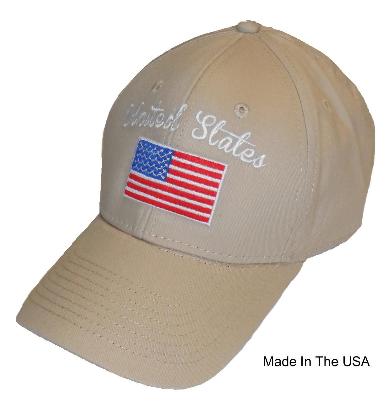 e905e7dc7c3 Made In The USA Khaki United States RWB American Flag Embroidered Baseball  Cap Hat