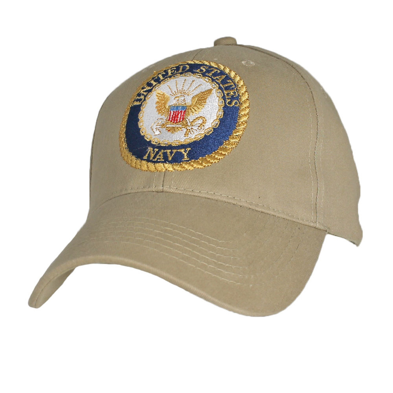 81092117ad6 U.S. Navy With Navy Seal Khaki Baseball Cap Hat Officially Licensed