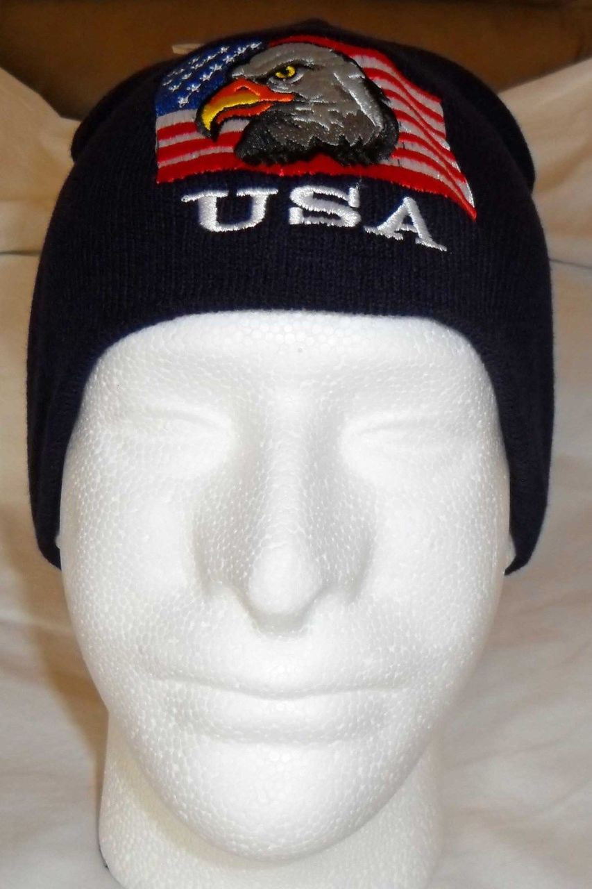 49d9f90b2da USA FLAG   EAGLE Patriotic Watch Cap Beanie Winter Ski Hat Toboggan