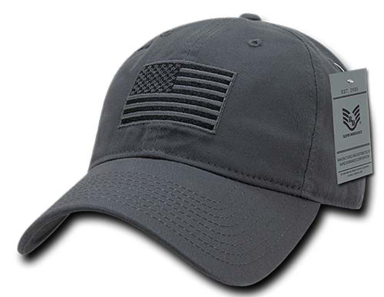 Gray US American Flag Patch United States America Polo Tonal Baseball Hat  Cap