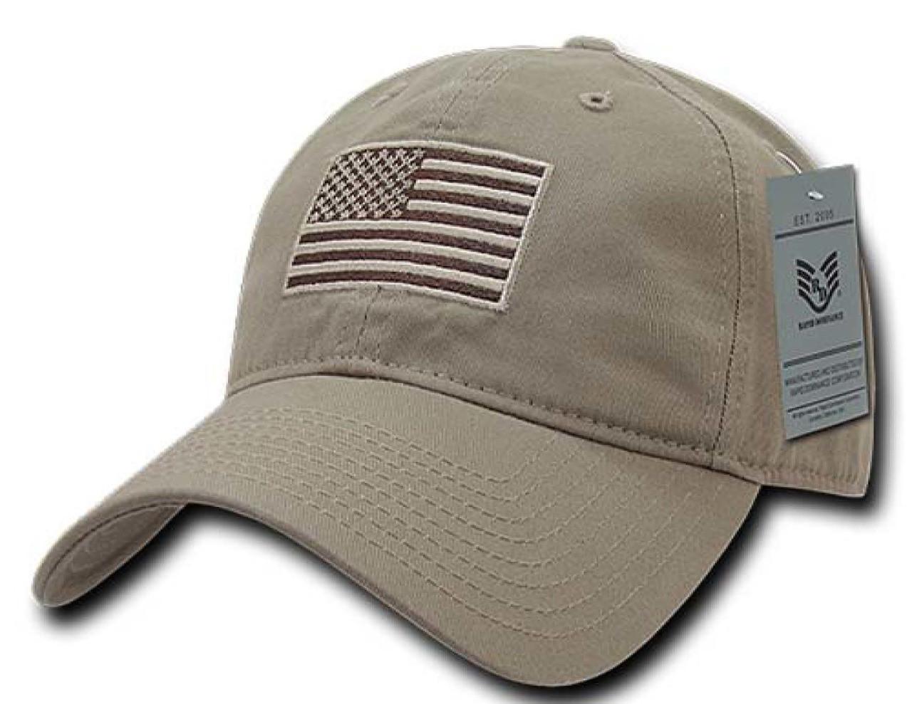 Khaki US American Flag Patch United States America Polo Tonal Baseball Hat  Cap 619c443783a