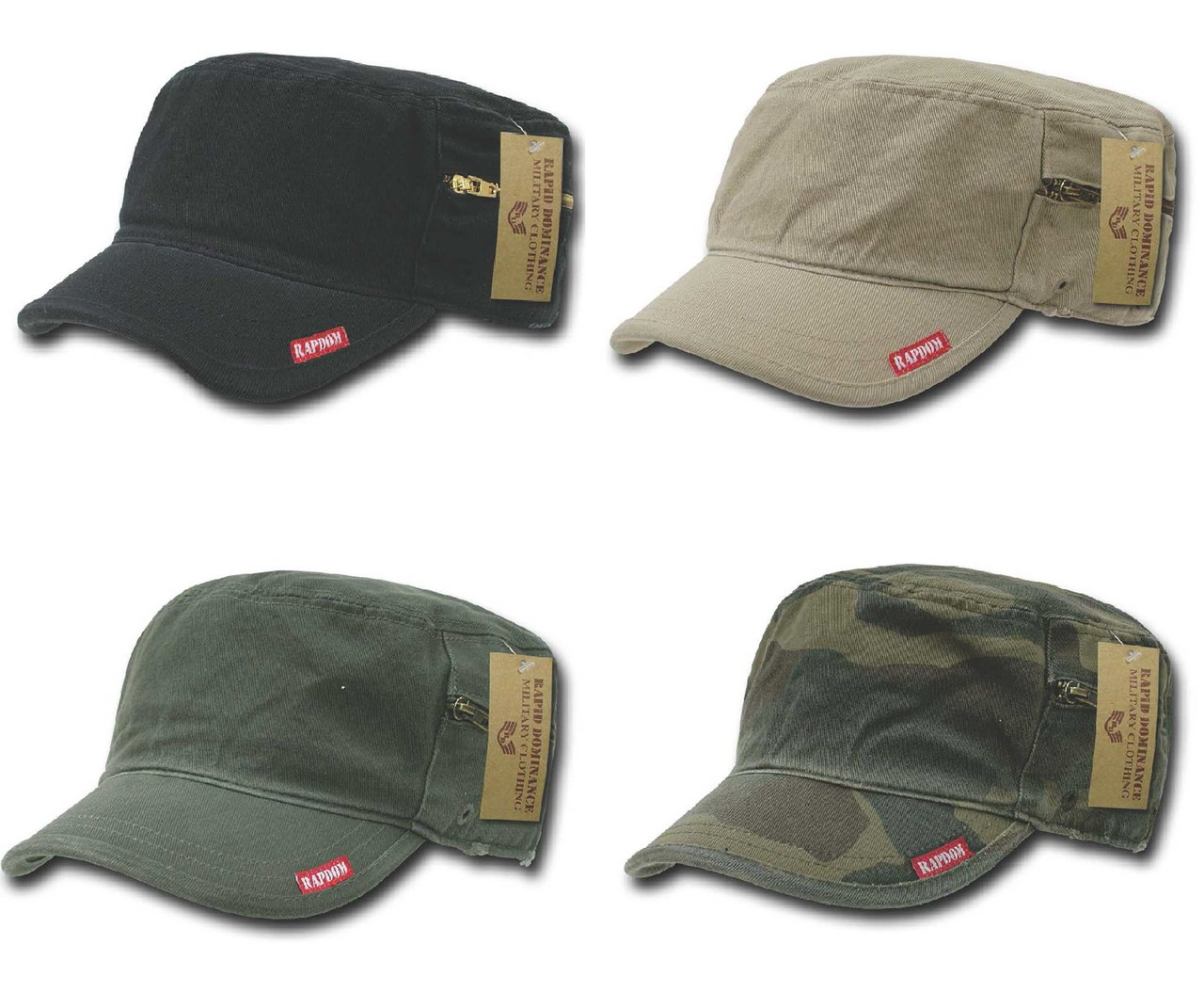 f01402c25d8 Flat Top BDU Patrol Fatigue Cadet Military Hat With Zipper Adjustable Caps  Cap