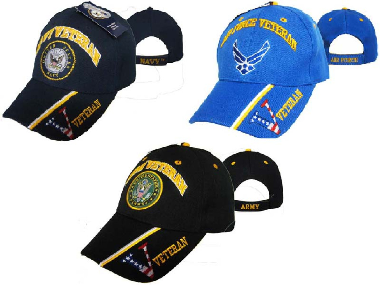 284f455c07dd3 U.S. MILITARY VETERAN (ARMY NAVY AIRFORCE) OFFICIALLY LICENSED Baseball Cap  Hat