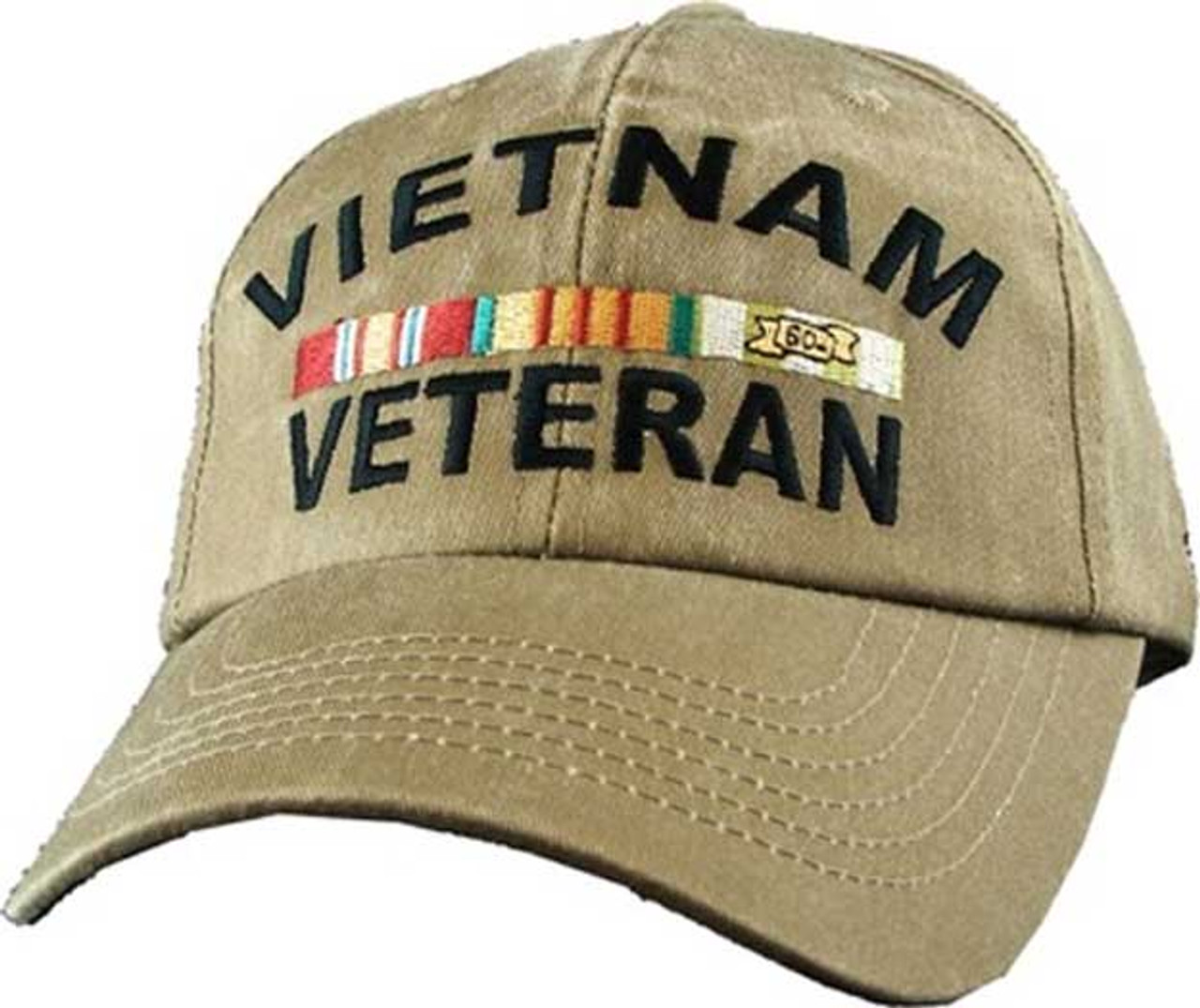 Vietnam Veteran With Ribbons Khaki Military Hat Baseball Cap 0c251ac285b
