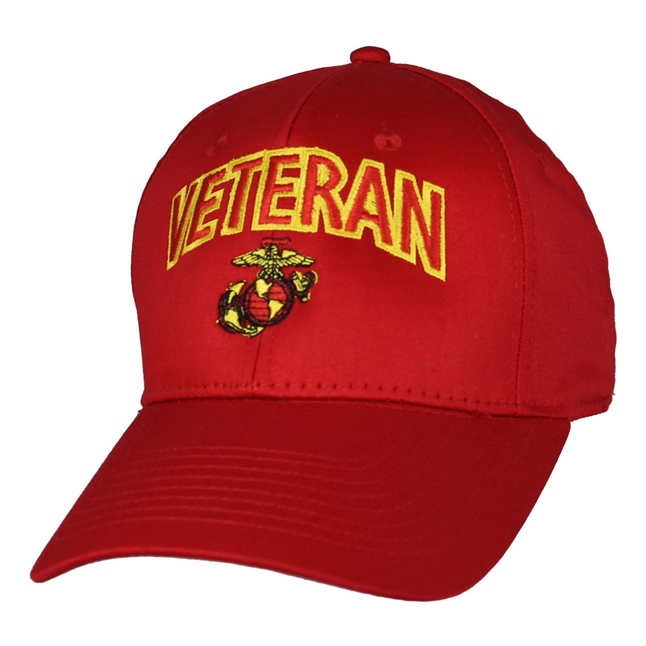 US MARINE CORPS VETERAN USA MADE Licensed EGA RED Military Hat Baseball Cap
