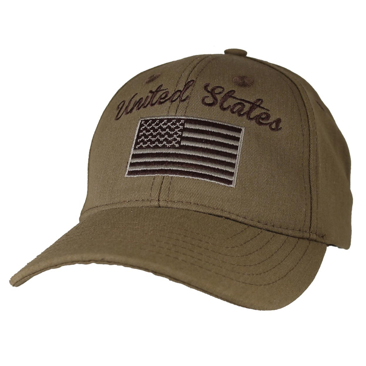 7de3abb9a35 Made In The USA Brown United States American Flag Embroidered Baseball Cap  Hat