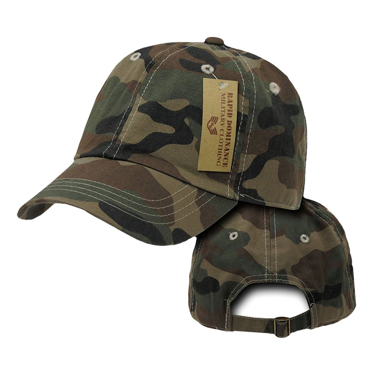 80f4129a996f7 Forest Woodland Camouflage Camo Army Washed Cotton Polo Baseball Ball Cap  Hat