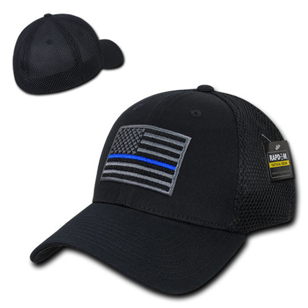 e143ca9b5 TBL Black USA American Flag Tactical Operator Mesh Flex Fit Baseball Hat Cap