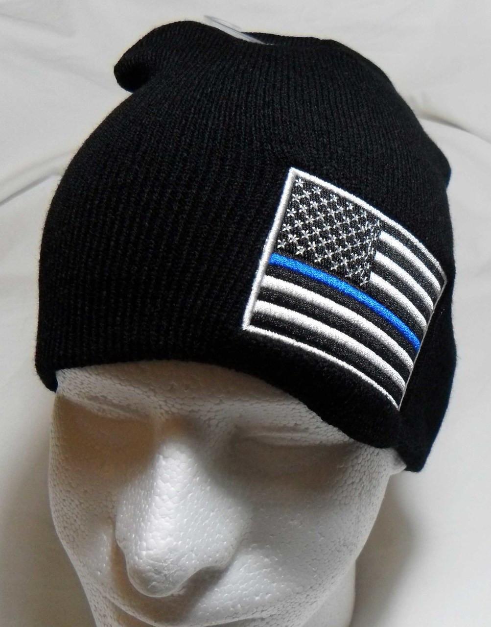 db9b80674b3 Thin Blue Line Watch Cap Beanie Winter Ski Hat Toboggan Cap (Respect Those  That Serve)