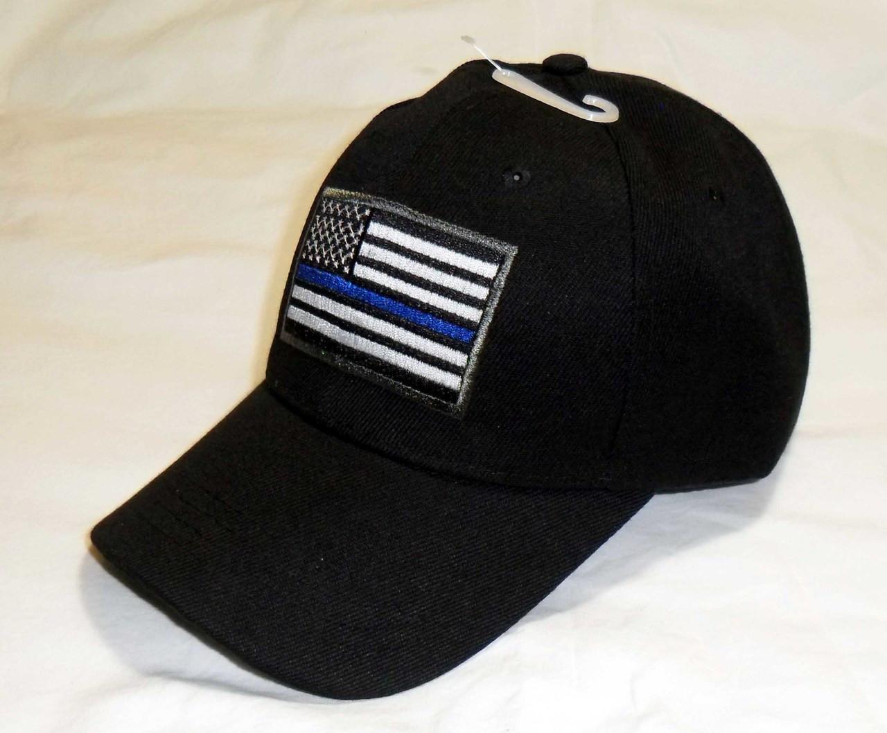 American Flag Black Baseball Cap Thin Blue Line Hat