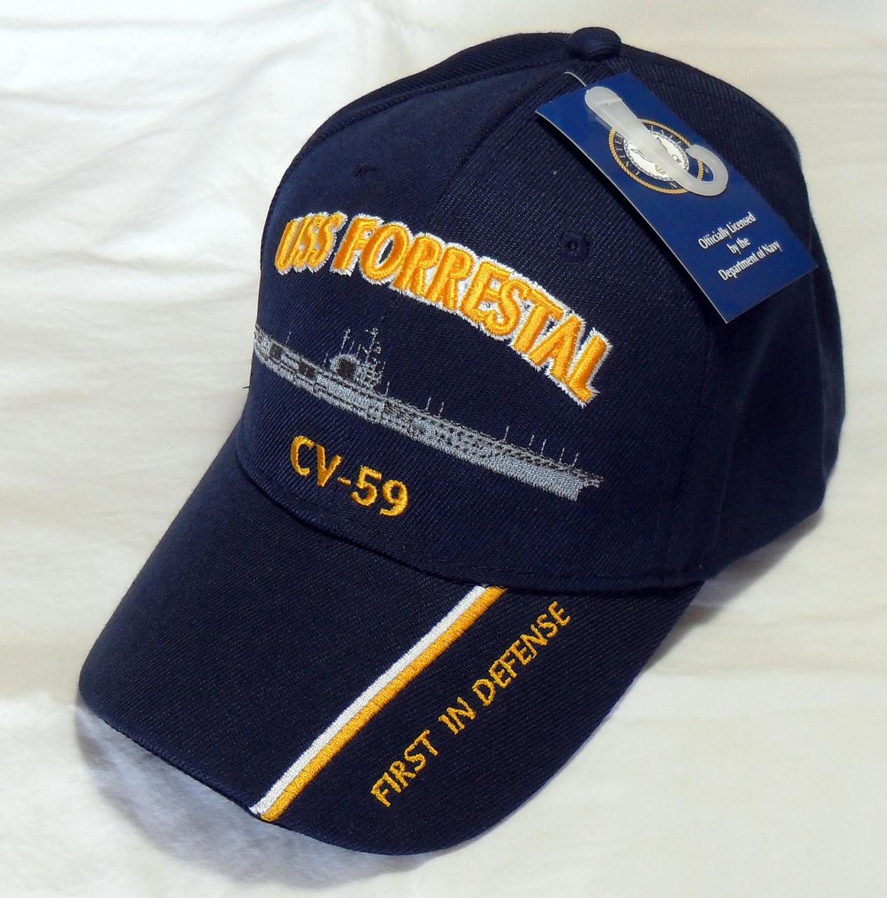 USS FORRESTAL CV-59 US NAVY SHIP HAT OFFICIALLY LICENSED BASEBALL CAP a7357720a18