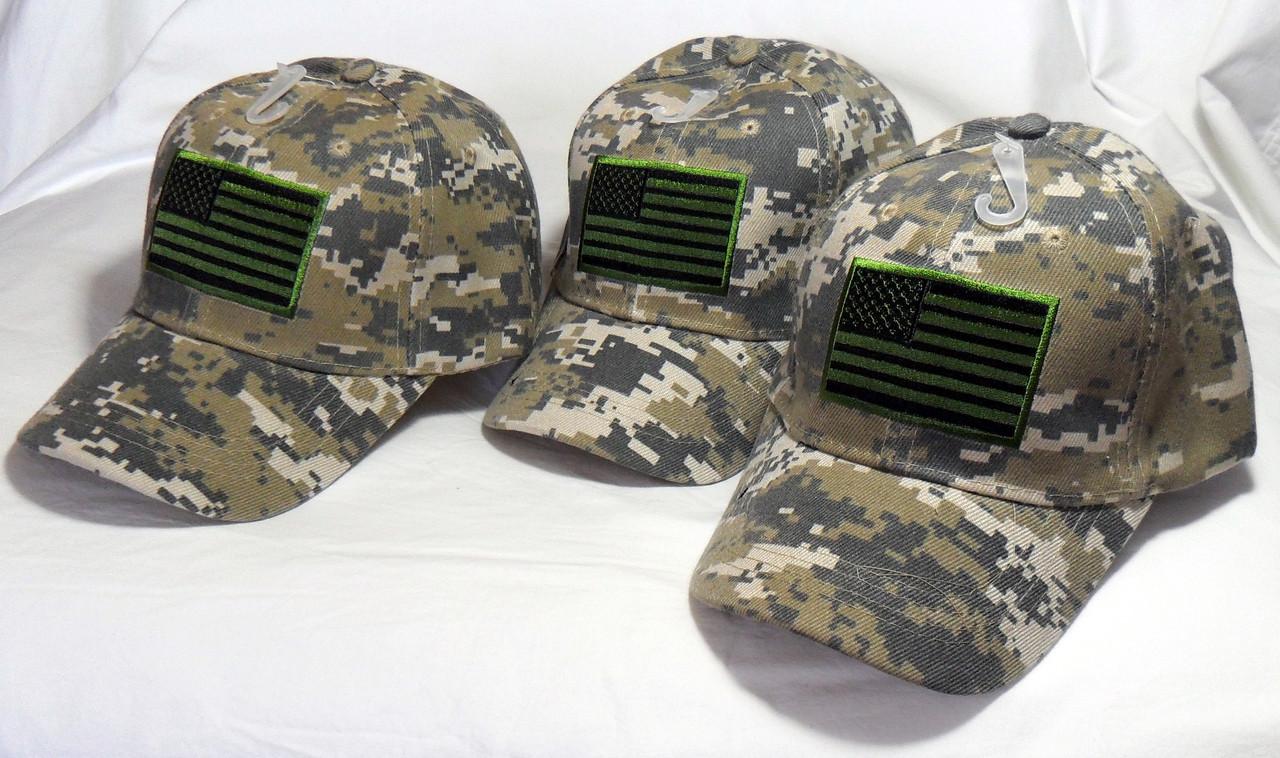 7a326073f7035 3 Pack Digital Camo USA American Flag Tactical Baseball Cap Hat