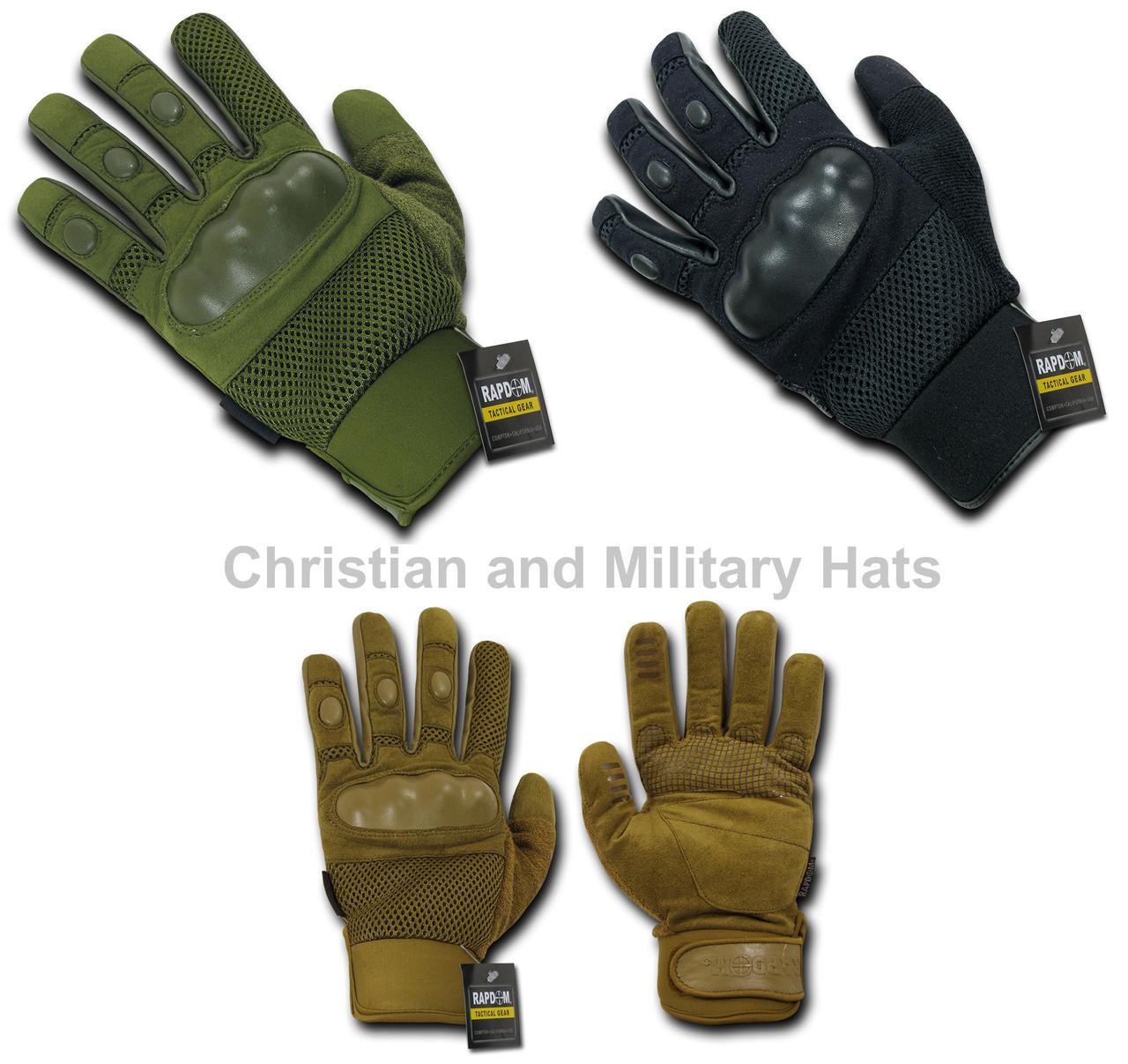 Tactical Gloves Men`s Full Finger Gloves Hard Knuckle Large Olive