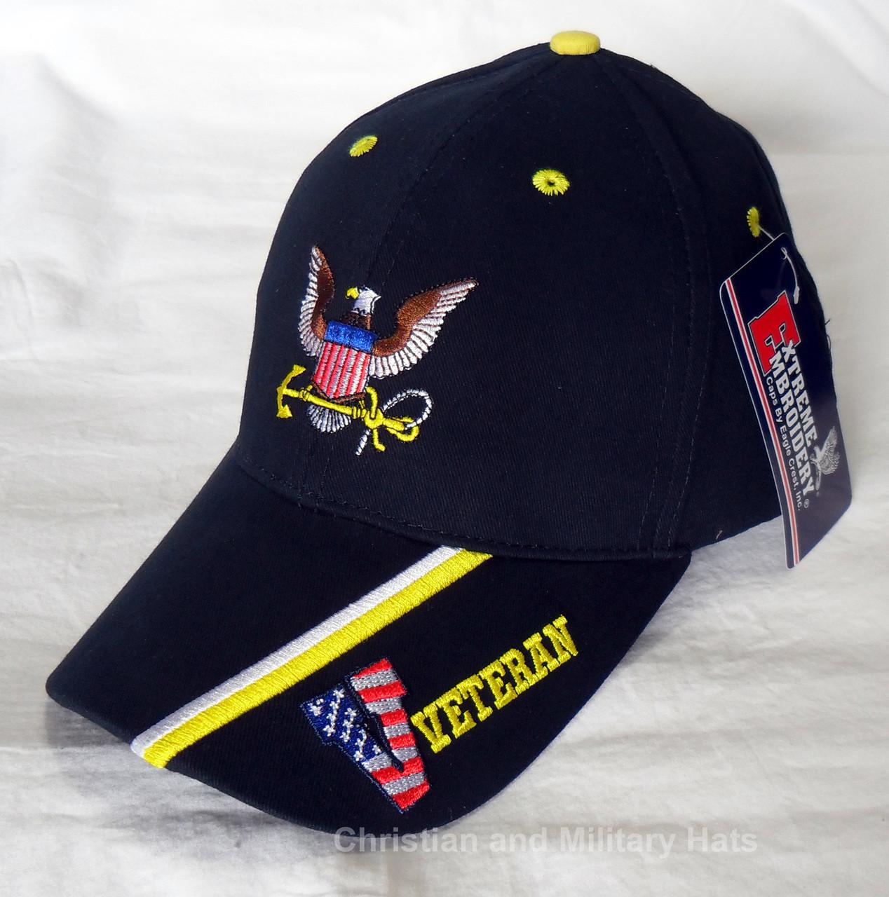 f03166b11df US NAVY UNITED STATES VETERAN - Insignia   Stripe Officially Licensed  Baseball Cap Hat