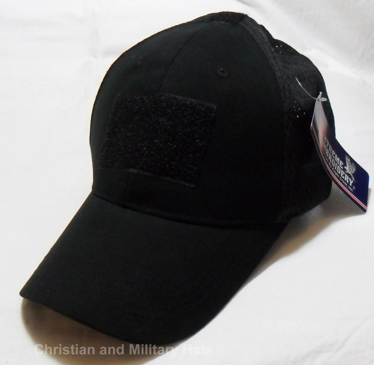 825e64ab3d4 Black Tactical Operator Mesh Adjustable Fit Baseball Hat Cap