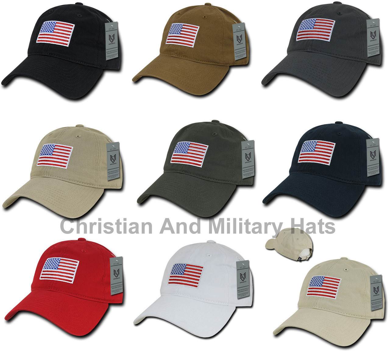 RWB US American Flag Patch United States Relaxed Fit Baseball Hat Cap