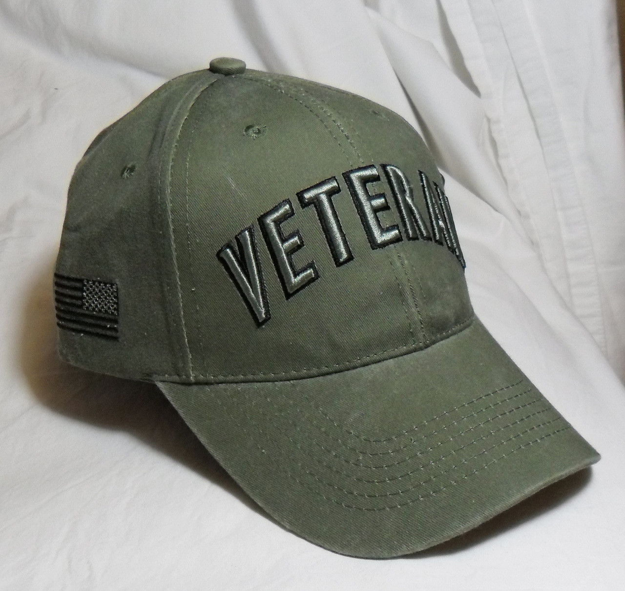 3241b910 US Military Veteran - OD Green Baseball Cap Hat (Thank you for your Service)