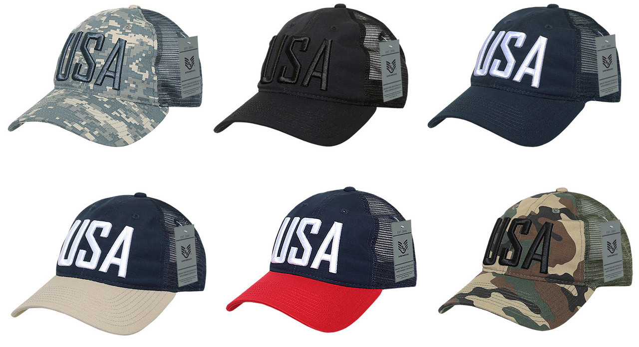 Ripstop Trucker Cap USA Bold Lettering Baseball Cap Hats (8 rows of  Stitching on Bill)