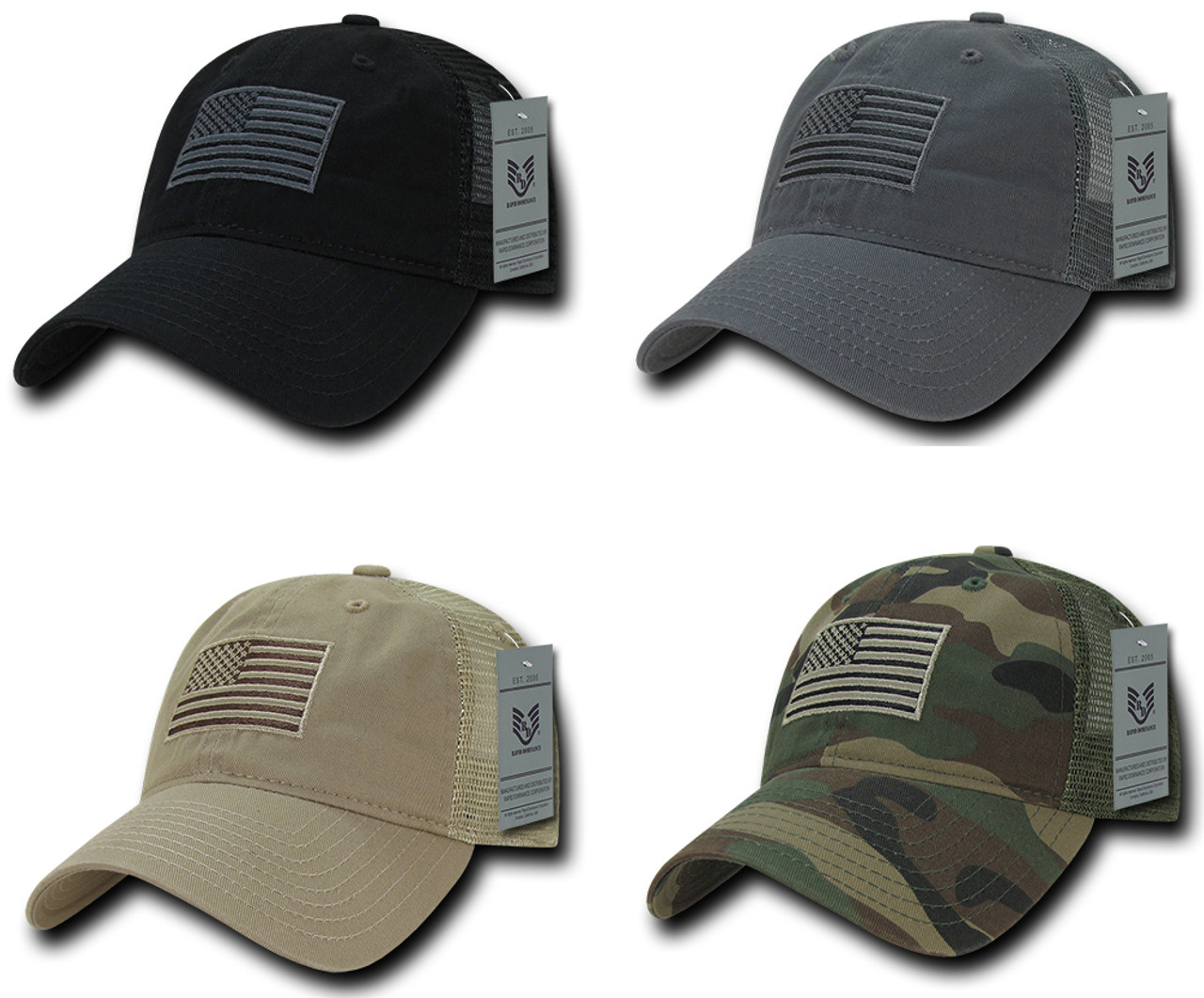 c971cf66fb962 Relaxed Trucker USA American Flag Polo Tonal Mesh Back Baseball Hat Cap