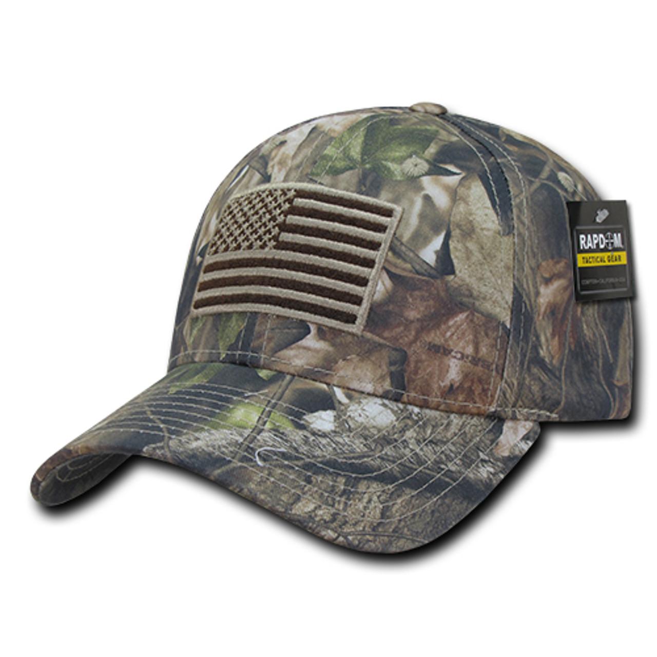 pretty nice dc15f bbd7b HYBRiCAM US Flag Structured Hunting Tactical Cap Grey Bark Baseball Cap Hat