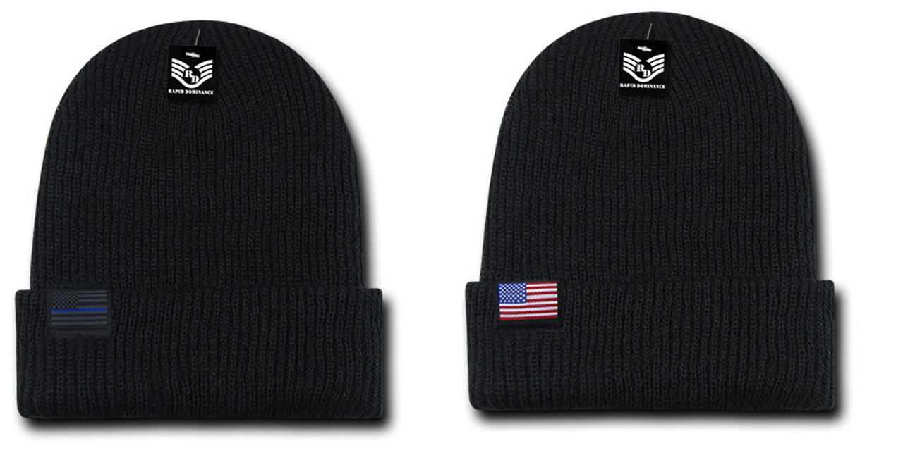 5424bae23f6 US American Flag Patch Or TBL U.S.A. United States America Winter Beanie  Tobbogan Knit Cap