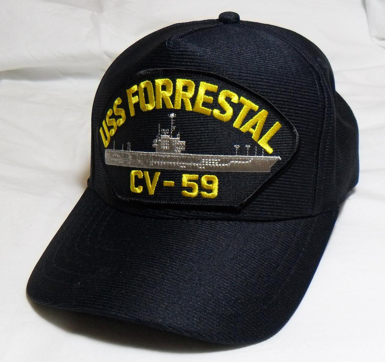 USS FORRESTAL CV-59 US NAVY SHIP HAT OFFICIALLY LICENSED Baseball Cap Made  in USA 043605b1666