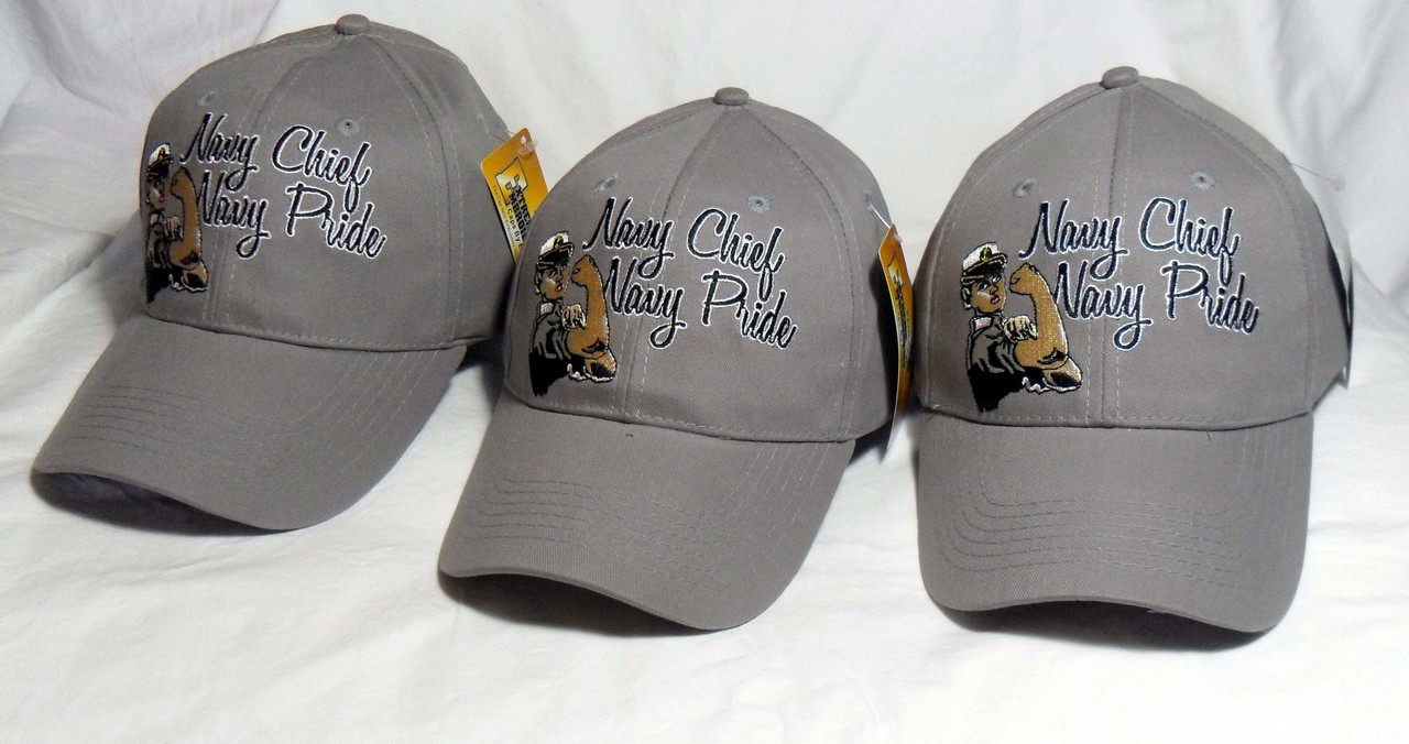 2f89c0da748fe ... authentic ladies 3 pack us navy navy chief grey officially licensed  military hat baseball cap 54809
