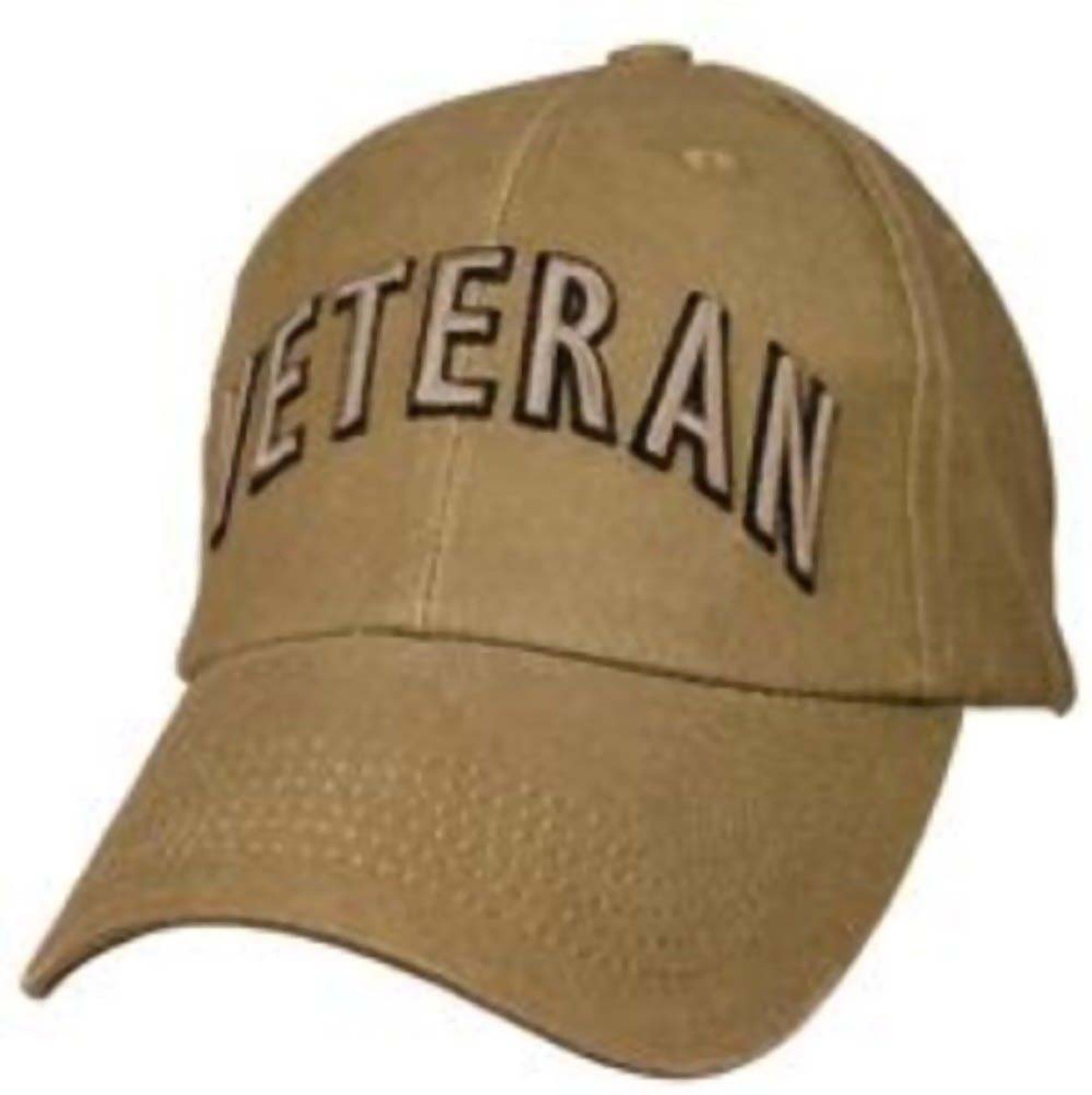 US Military Veteran - Coyote Brown with Flag and Bold Lettering Baseball Cap  Hat 66e78503554