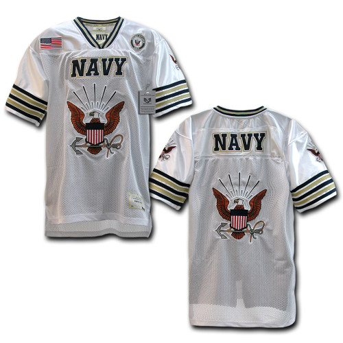 White US NAVY United States Navy with Insignia Military Football Jersey