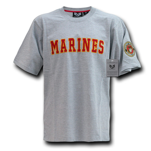 Grey USMC MARINE CORP TEE SHIRT WITH EGA OFFICIALLY LICENSED TEE