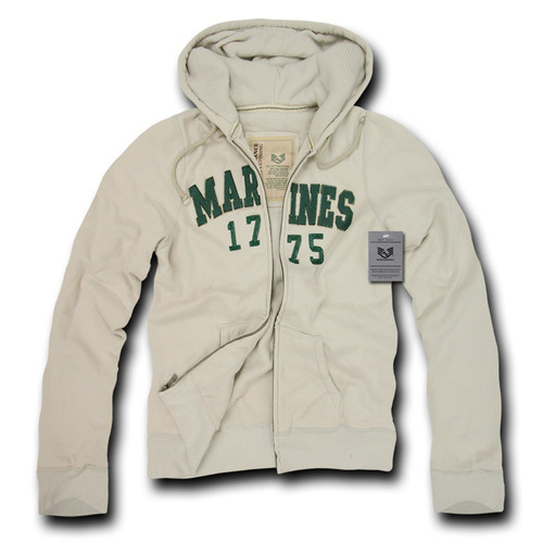 USMC United States Marines Waffle Lined Military Fleece Hoodie