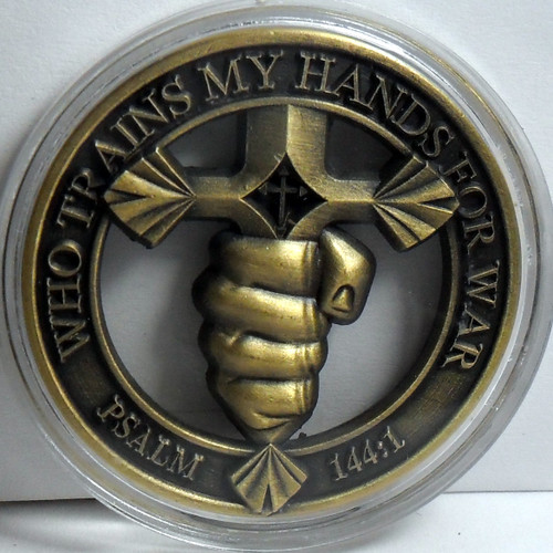 Christian Warrior Challenge coin  Psalm 144:1 Blessed be the LORD, my rock, who trains my hands for war, and my fingers for battle;