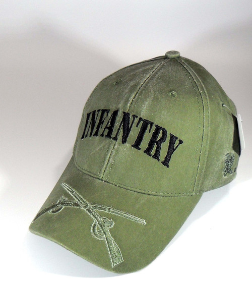 US ARMY INFANTRY - US Army Crossed Weapons Washed-ODG Military Hat Baseball Cap Hat