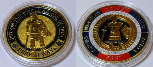 Whole Armor of God Challenge Coin Ephesians 6-11-18  Multi-Color