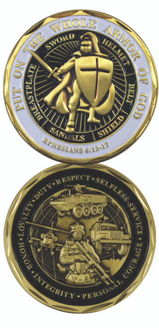 Infantry Whole Armor of God Challenge Coin Ephesians 6-13-17
