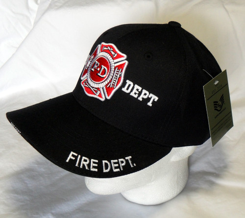 Fire Department Hat Black  Baseball Hat Cap(Support Those That Serve your Community)
